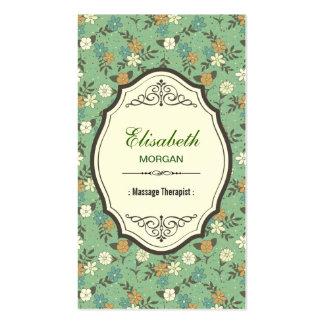 Terapeuta da massagem - vintage elegante floral cartão de visita