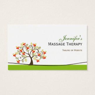 Terapia da massagem - símbolo elegante da árvore cartão de visitas