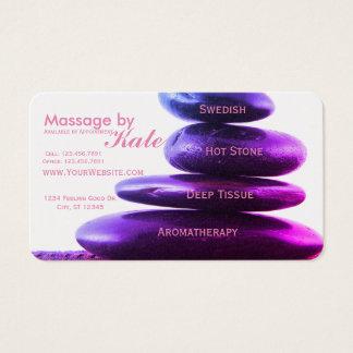 Terapia de pedra da massagem cartão de visitas