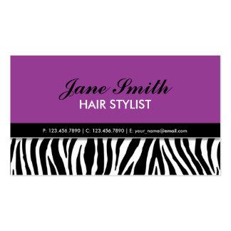 Termas elegantes modernos roxos do cabeleireiro do modelos cartoes de visitas