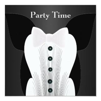 Terno do laço branco do aniversário do convite