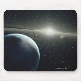 Terra, correia asteróide e estrela mouse pad
