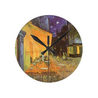 Terraço do café na noite por Vincent van Gogh Relógios De Paredes