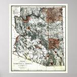 Território 1887 velho do mapa da arizona posteres