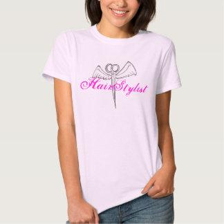 Tesouras cor-de-rosa da camisa do cabeleireiro t-shirts