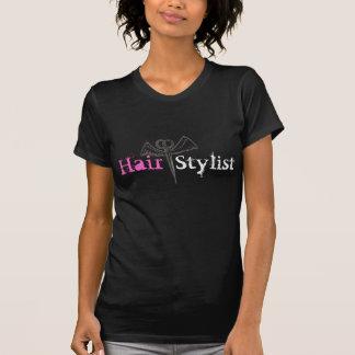 Tesouras e asas pretas do t-shirt do cabeleireiro