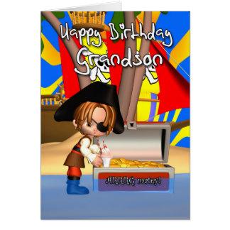 Tesouro do pirata do cartão de aniversário do neto