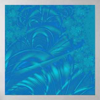 Teste padrão à moda do abstrato do azul. Fractal a Poster