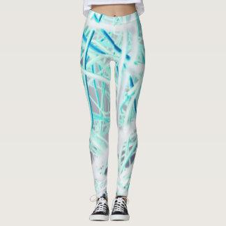 Teste padrão abstrato do branco e do azul leggings