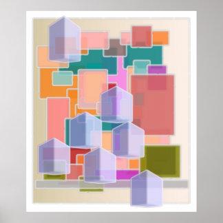 Teste padrão abstrato dos cubos da arte contemporâ poster