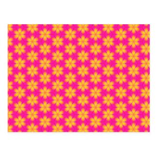 Teste padrão abstrato floral cor-de-rosa e amarelo cartão postal