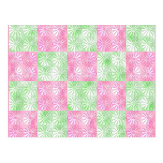 Teste padrão abstrato floral do rosa e do verde cartão postal