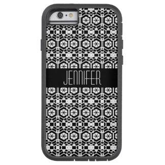 Teste padrão abstrato preto e branco do hexágono capa tough xtreme para iPhone 6