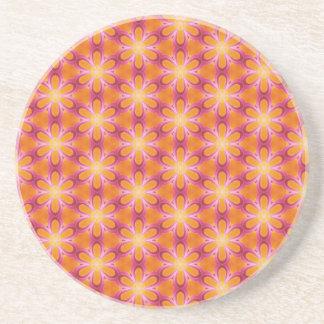Teste padrão alaranjado e cor-de-rosa porta copos de arenito
