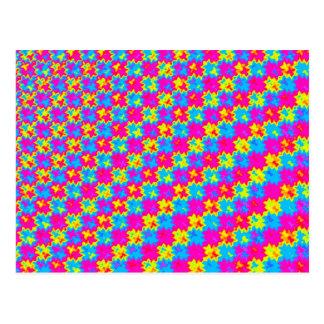 Teste padrão amarelo e cor-de-rosa louco cartão postal