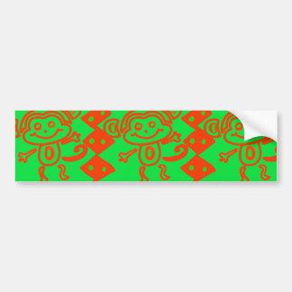 Teste padrão animal verde alaranjado do macaco adesivo para carro