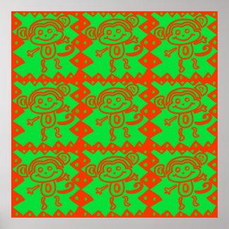 Teste padrão animal verde alaranjado do macaco bon poster