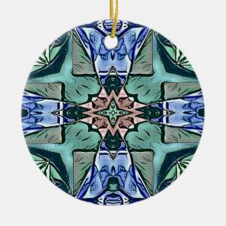 Teste padrão artístico do pêssego moderno do Lilac Ornamento De Cerâmica Redondo