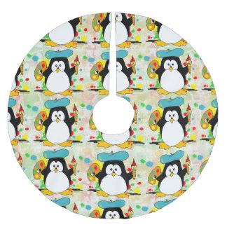 Teste padrão artístico do pintor do pinguim cobertura para árvore de natal de poliéster