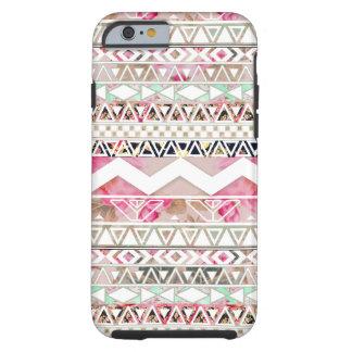 Teste padrão asteca abstrato floral branco capa tough para iPhone 6