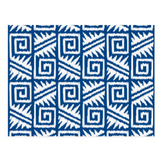 Teste padrão asteca de Ikat - azuis cobaltos e Cartão Postal