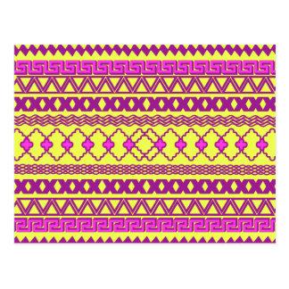 Teste padrão asteca tribal cor-de-rosa amarelo de cartão postal