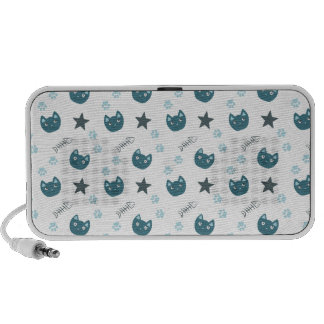 Teste padrão azul bonito do gatinho caixinhas de som para laptop