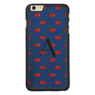 Teste padrão azul da cereja do monograma capa para iPhone 6 plus de carvalho, carved®
