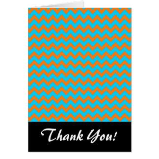 Teste padrão azul de Chevron da laranja e da Cartão De Nota