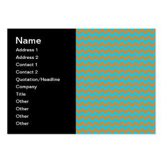 Teste padrão azul de Chevron da laranja e da Cartão De Visita Grande