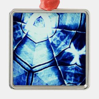Teste padrão azul desvanecido ornamento quadrado cor prata