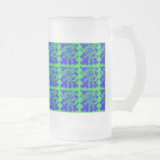 Teste padrão azul do animal do verde limão do caneca de cerveja vidro jateado
