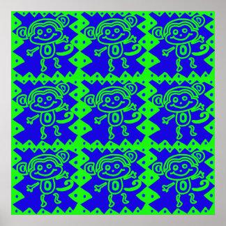 Teste padrão azul do animal do verde limão do maca posteres