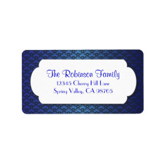 Teste padrão azul do fã com quadro branco etiqueta de endereço