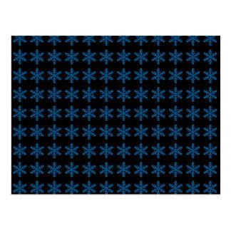Teste padrão azul do floco de neve com fundo preto cartoes postais