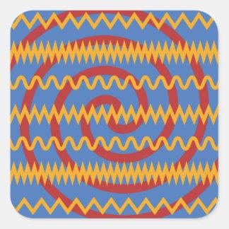 Teste padrão azul dos redemoinhos da laranja do adesivo quadrado