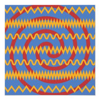 Teste padrão azul dos redemoinhos da laranja do convite quadrado 13.35 x 13.35cm
