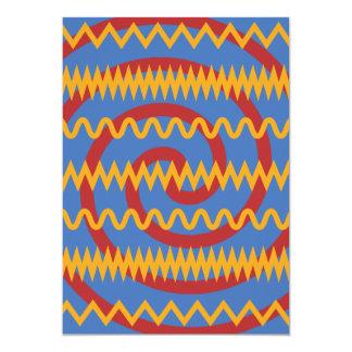 Teste padrão azul dos redemoinhos da laranja do convite 12.7 x 17.78cm