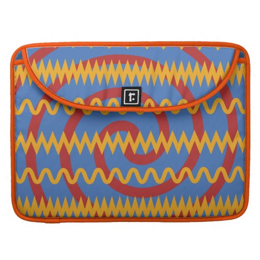 Teste padrão azul dos redemoinhos da laranja do di bolsa para MacBook pro