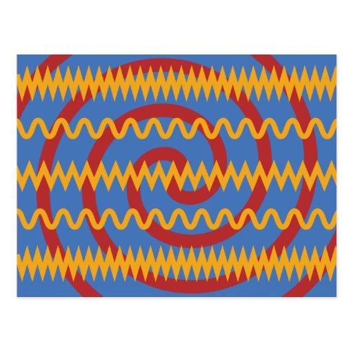 Teste padrão azul dos redemoinhos da laranja do di cartoes postais