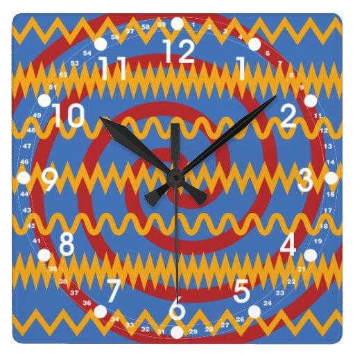 Teste padrão azul dos redemoinhos da laranja do di relógio de parede