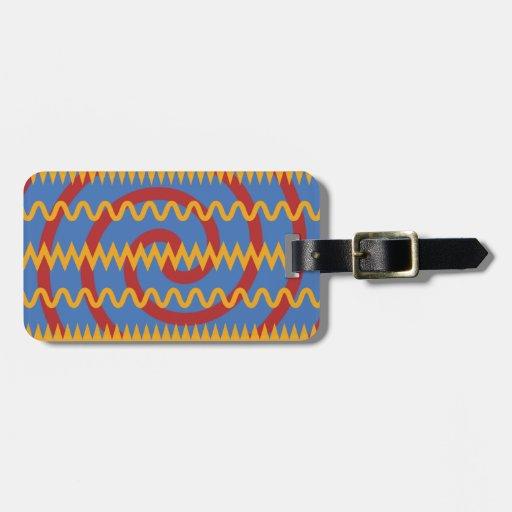 Teste padrão azul dos redemoinhos da laranja do di tag para mala