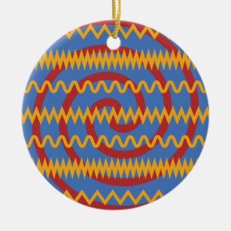 Teste padrão azul dos redemoinhos da laranja do ornamento de cerâmica redondo