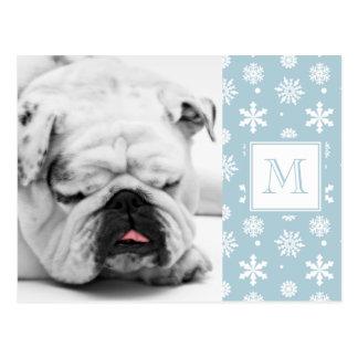 Teste padrão azul e branco 1 dos flocos de neve co cartão postal