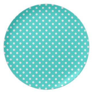 Teste padrão azul e branco da cerceta de bolinhas pratos