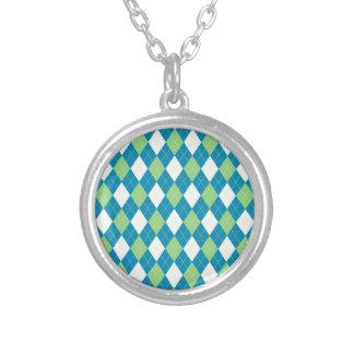 Teste padrão azul e branco verde de Argyle Colar Banhado A Prata