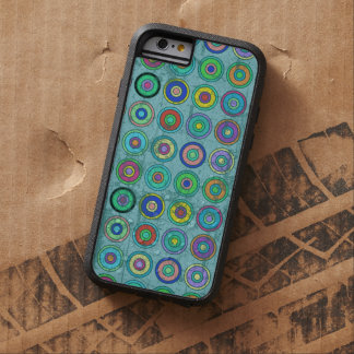 Teste padrão azul retro sujo do círculo capara para iPhone 6 tough xtreme