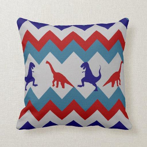 Teste padrão azul vermelho de Chevron dos dinossau Travesseiro