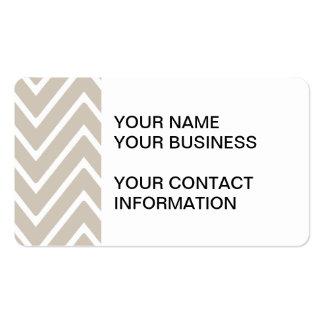 Teste padrão bege e branco 2 de Chevron Cartão De Visita