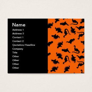 Teste padrão bonito do dinossauro na laranja cartão de visitas